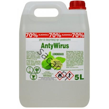 Płyn do dezynfekcji rąk AntyWirus 5l lemongrass