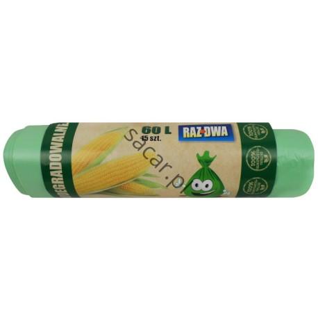Worki ECO biodegradowalne 60l 15szt zielone