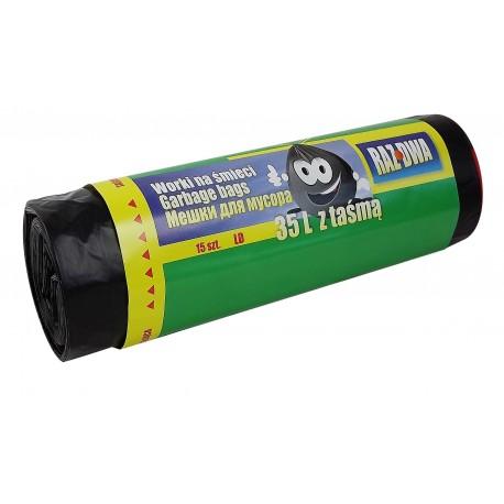 Worki z taśmą 35l LDPE 15szt czarne