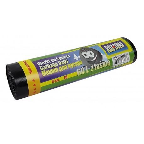 Worki z taśmą 60l LDPE 10szt czarne