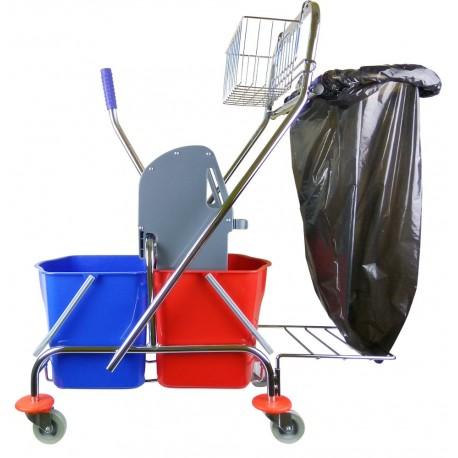 Wózek metal 2x17l uchwyt + koszyk CleanPRO