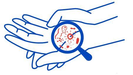 Dłoń, lupa, bakterie