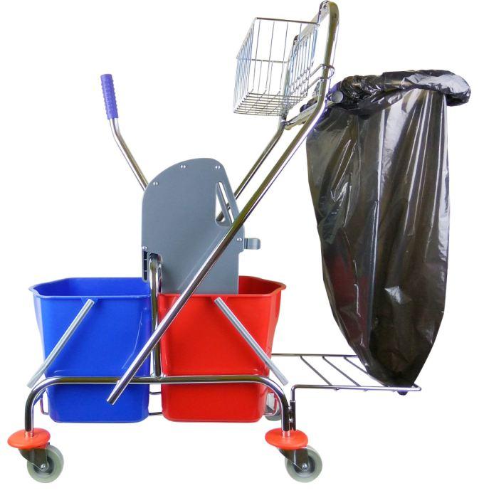 Wózek do sprzątania 2x17litr z uchwytem i koszykiem